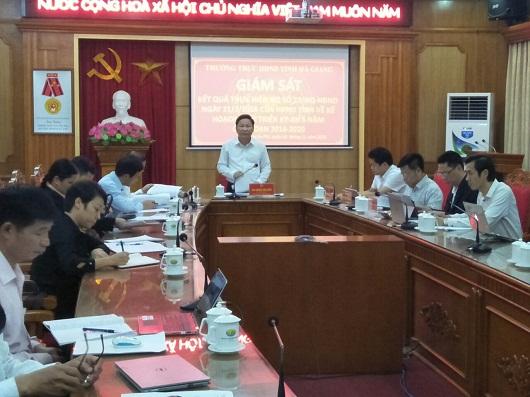 Đồng chí Hoàng Văn Vịnh, Uỷ viên BCH Đảng bộ tỉnh, Phó Chủ tịch HĐND tỉnh, trưởng đoàn giám sát kết luận buổi giám sát tại UBND huyện Hoàng Su phì