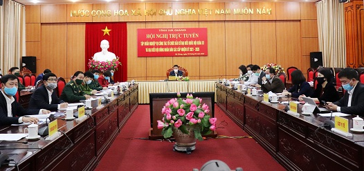 Các đại biểu dự hội nghị tại điểm cầu tỉnh Hà Giang